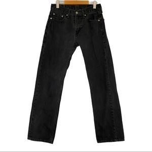Levi's 505 black denim jeans 30x32 VGUC